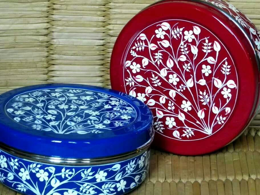 Hand Painted Stainless Steel Boxes Enamelware Hand Painted Steel