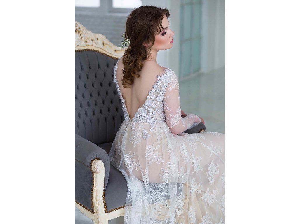 fa5e5fe4a664 Jemné celokrajkové svatební šaty jednoduché svatební šaty v bohémském stylu  hluboký V výstřih na zádech a