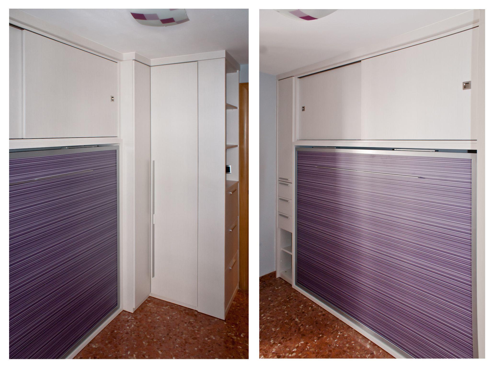 Dormitorio matrimonio optimizado con cama abatible for Zapatero horizontal