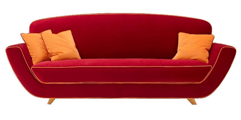 Modern 2 Seater #Loveseat #Sofa #HighBack Orange Piping Red | Love