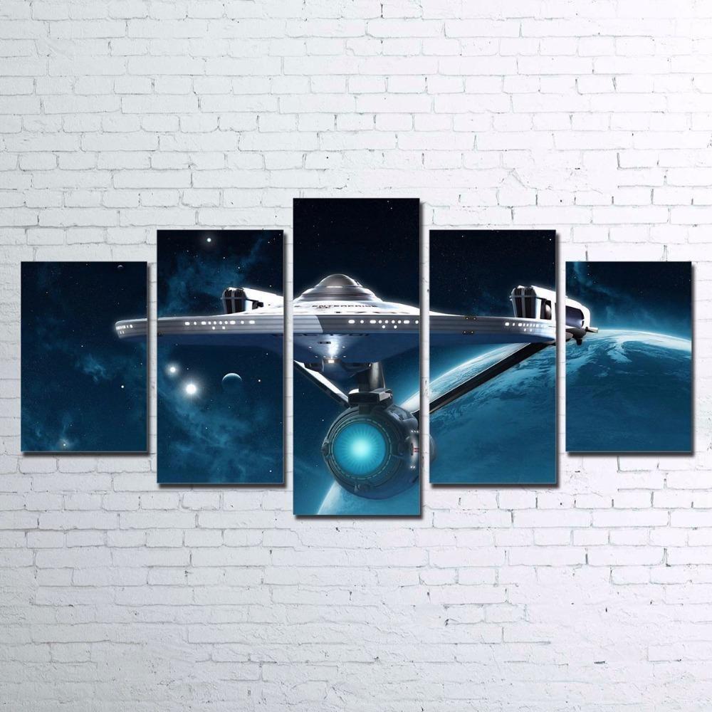 Star Trek 5 Panel Wall Art On Canvas Abstract Home Decor