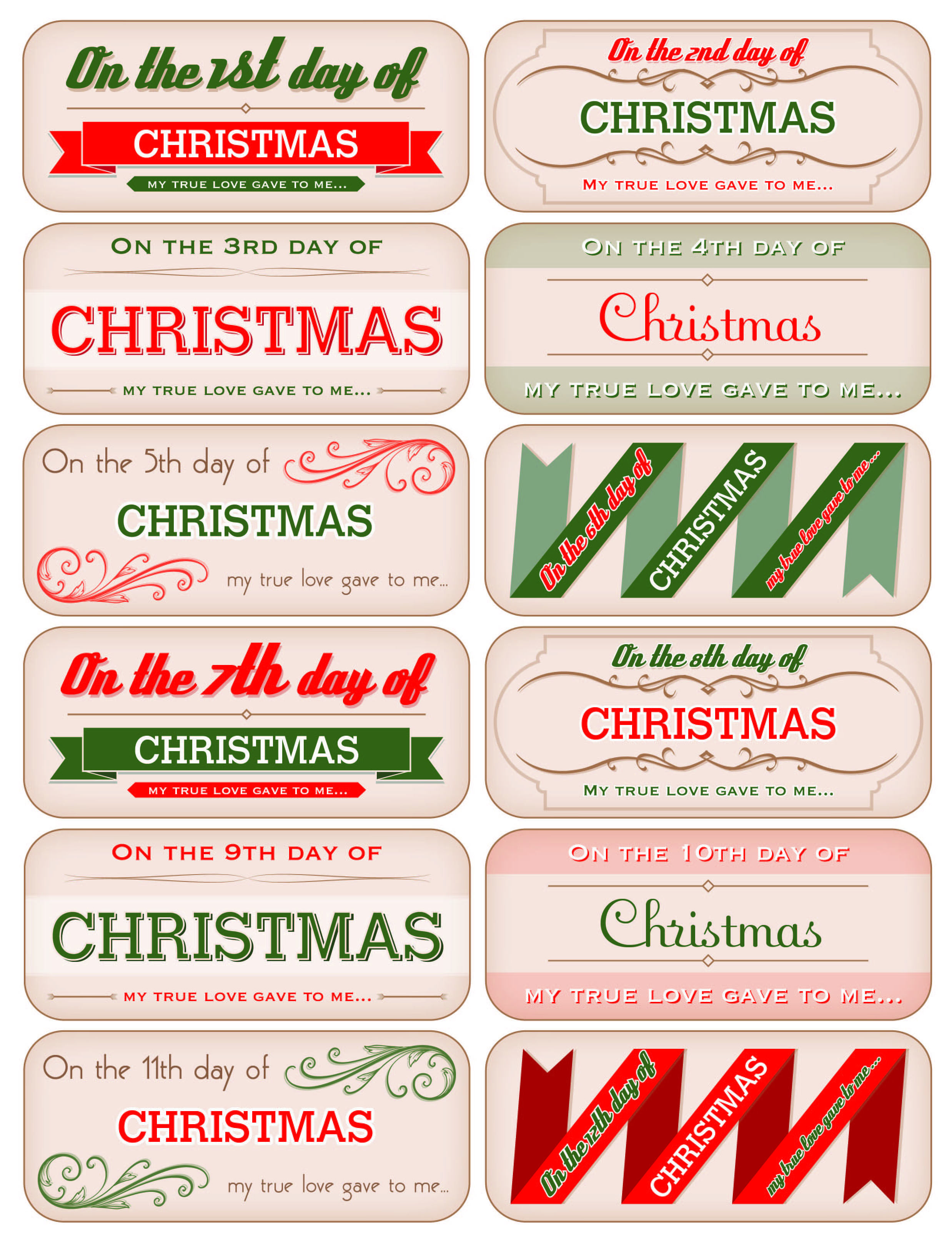 12 days of christmas tags - free download! | Decking the Halls with ...