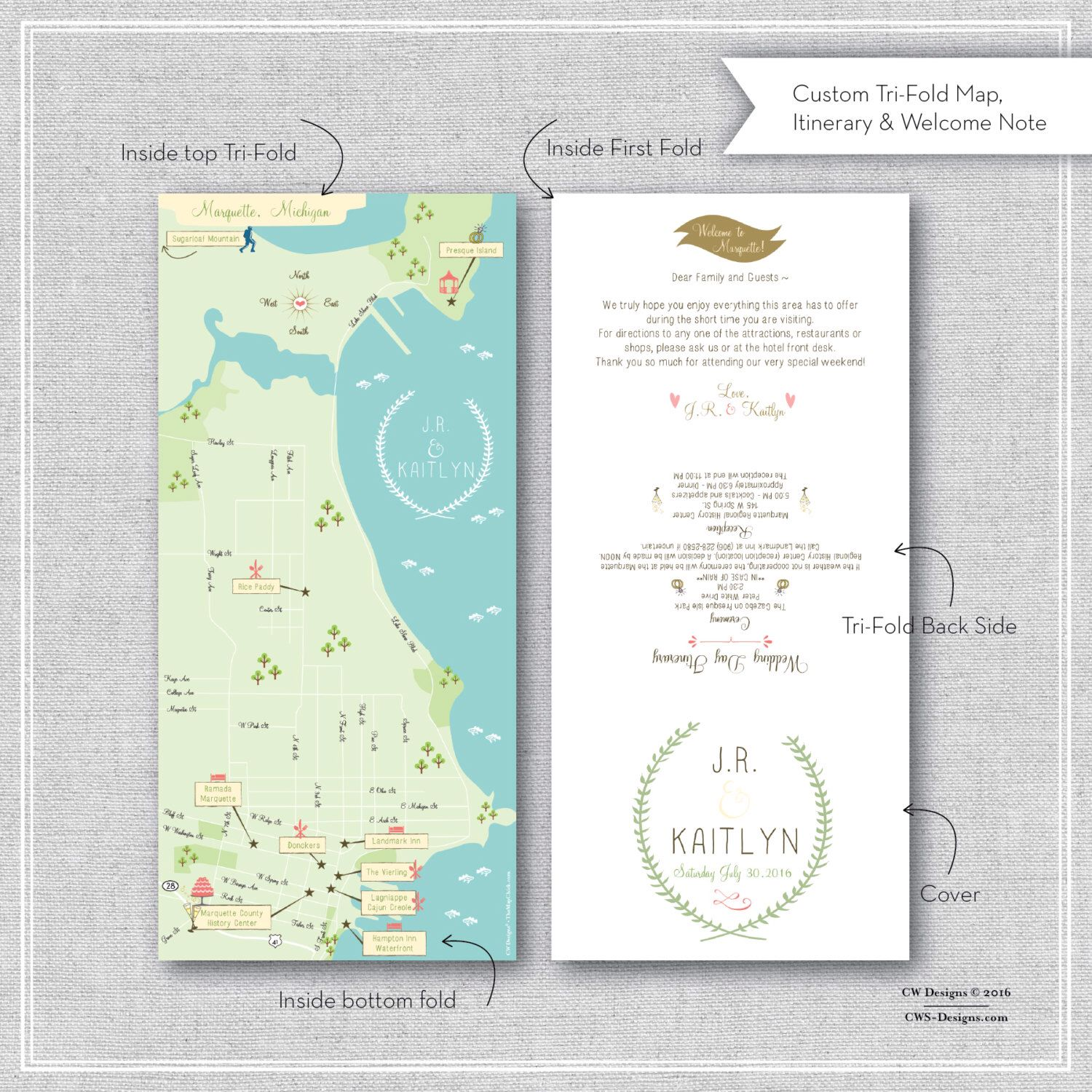 listing for cait custom wedding map with itinerary tri fold new orleans la wedding pinterest unique invitations friend wedding and invitation