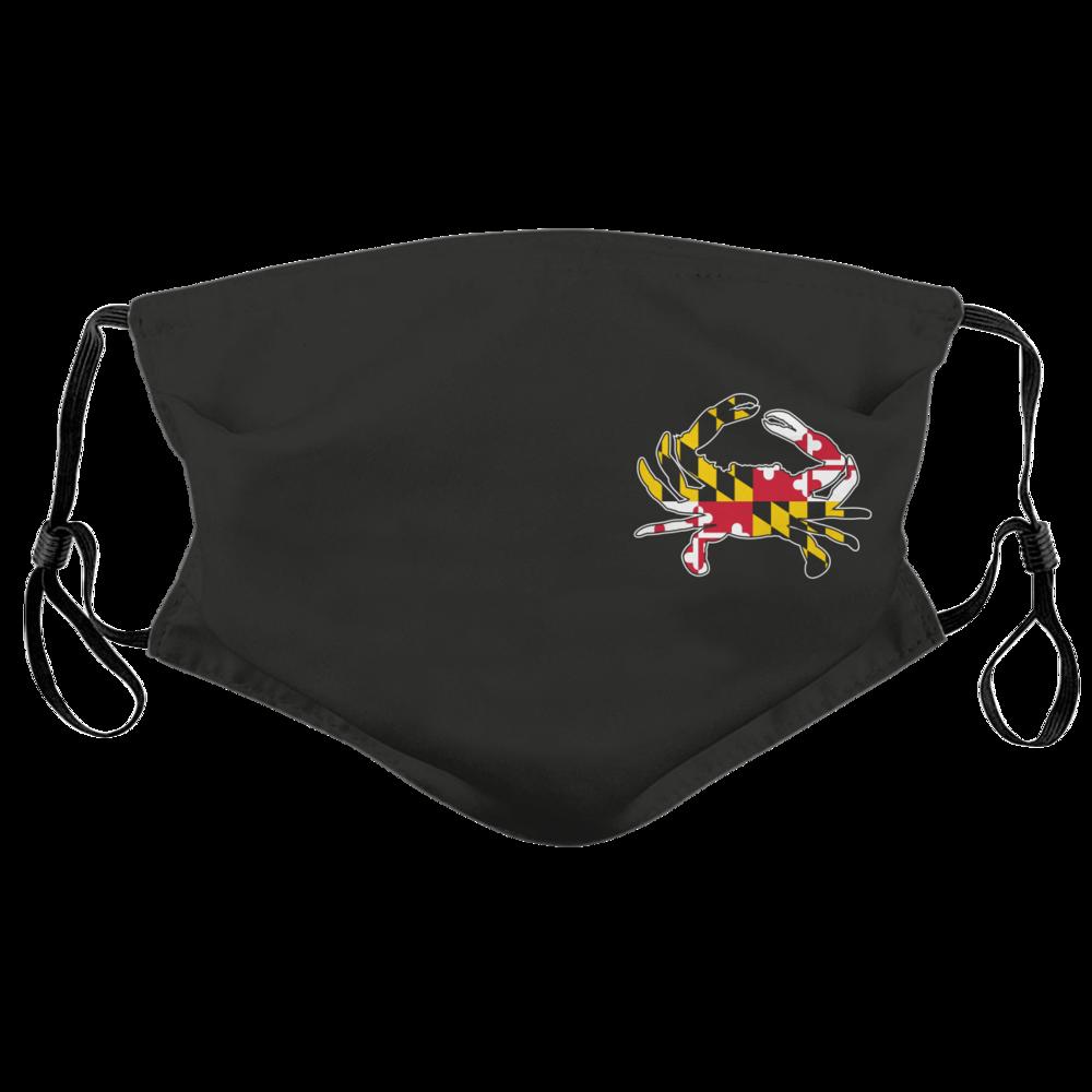 Side Maryland Flag Crab Black Face Mask In 2020 Face Mask Maryland Flag Maryland Flag Crab