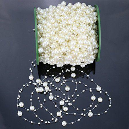 Perlen Dekoperlen Perlenkette Tischdeko Hochzeit Floristik Deko Weiss Kleidung & Accessoires