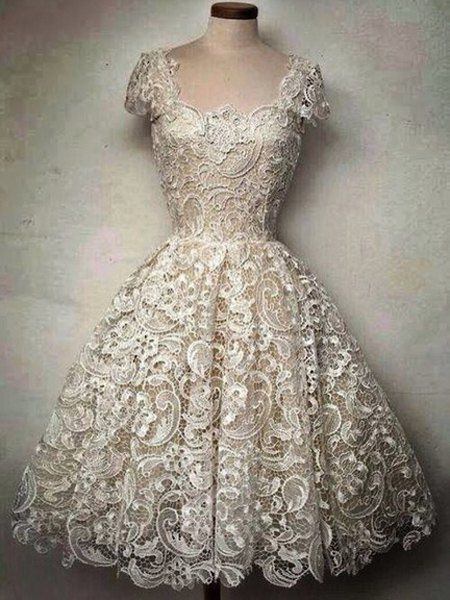 Cutwork Cap Sleeve Lace Vintage Party Dress | Sleeve, Vintage lace ...