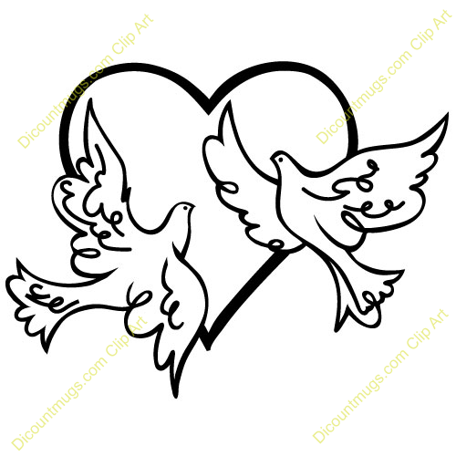 clipart 12512 two doves in a heart two doves in a heart mugs t rh pinterest com au