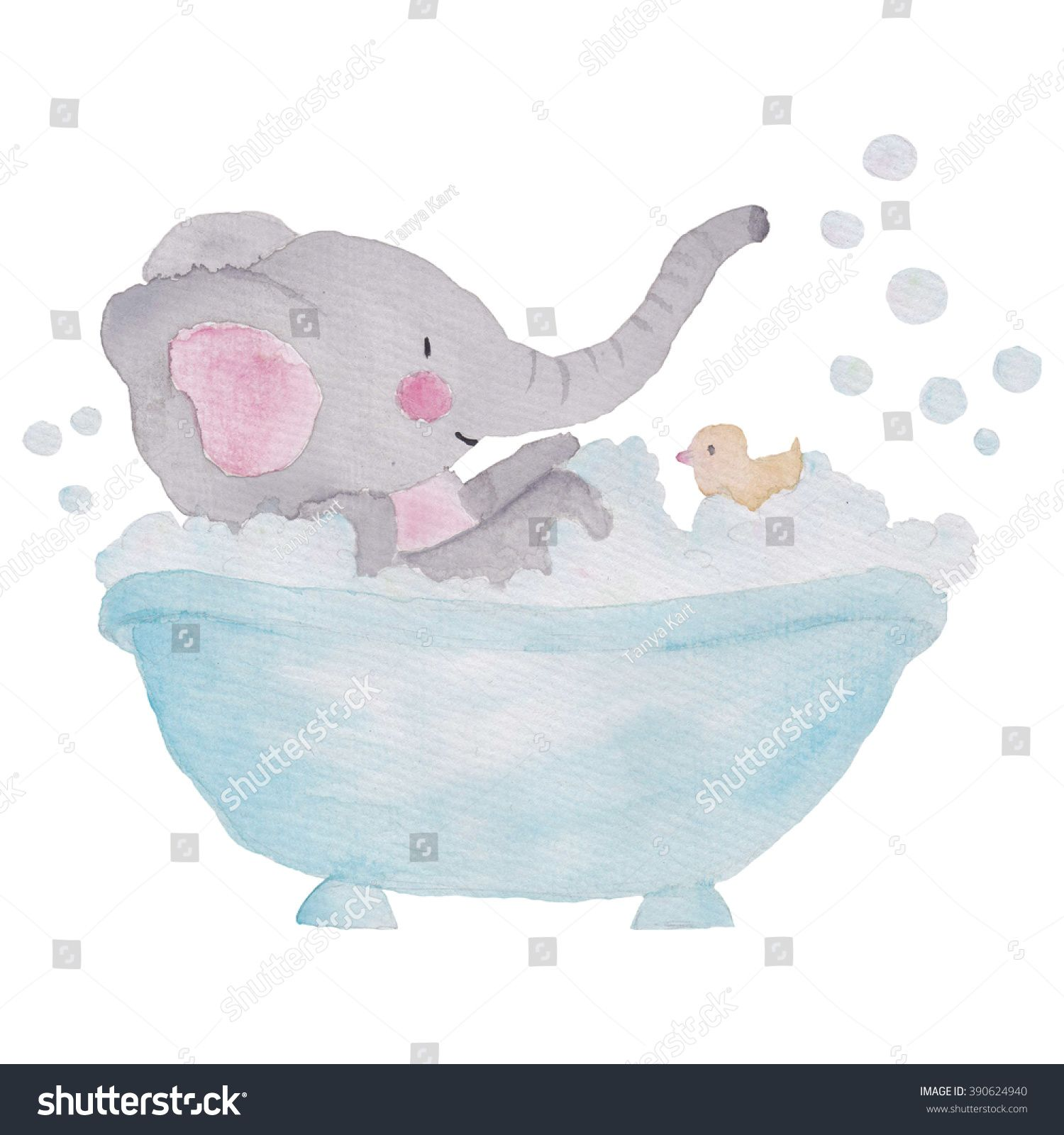Elephant In The Bath Tube Watercolor Illustration Ad Affiliate