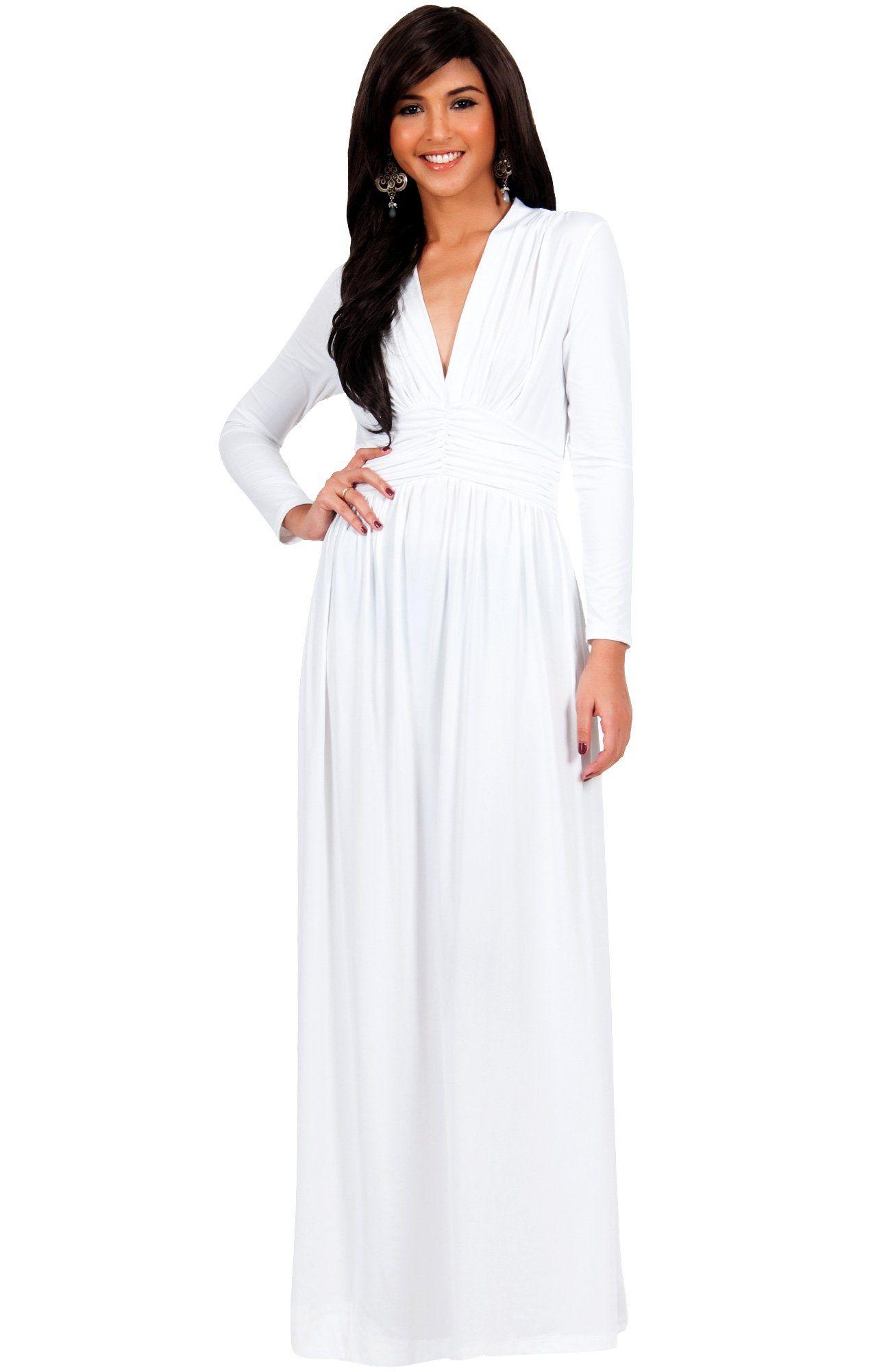 Koh koh womenus vintage inspired vneck long sleeve evening maxi