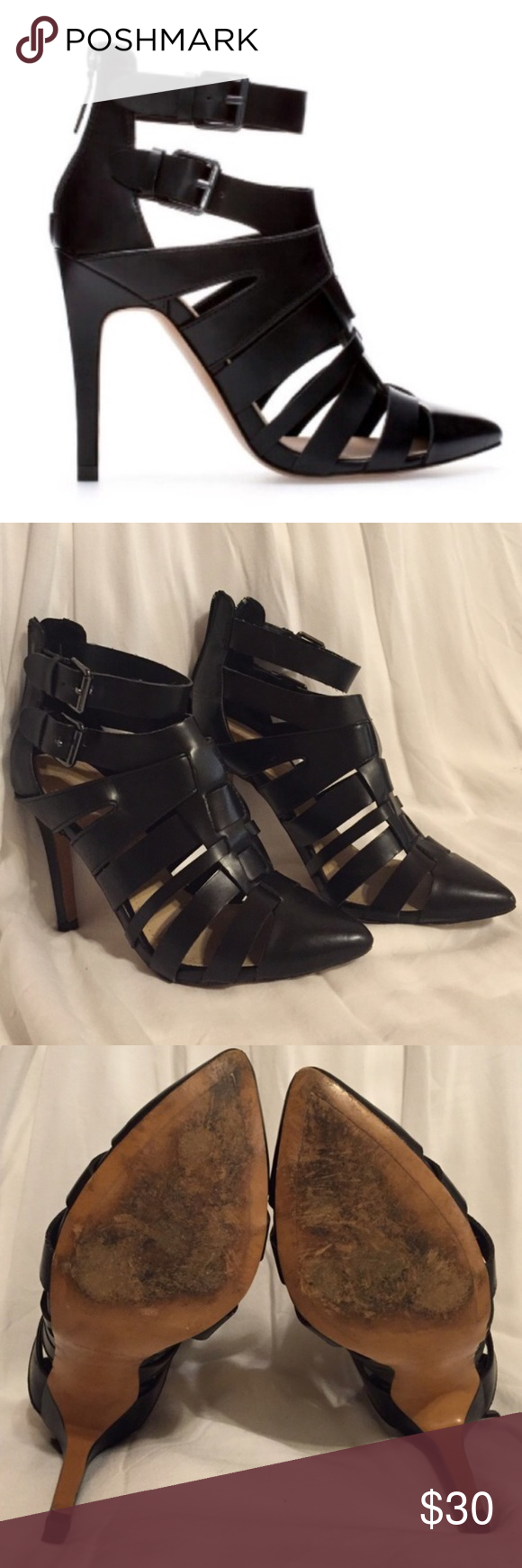 Zara Heels with Zipper Used Zara black caged heels with buckle details. Can be worn casually or dressy. Has a zipper on the back to make it easy to put on and take off. Great condition. Small flaw in left toe shown on last picture. No Box. SIZE 37 Zara Shoes Heels