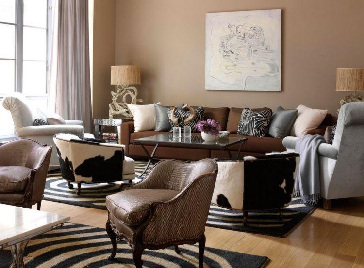 Natürliche Farbgestaltung in Erdtönen \u2013 Wohnzimmer in Braun - wohnzimmer braun ideen