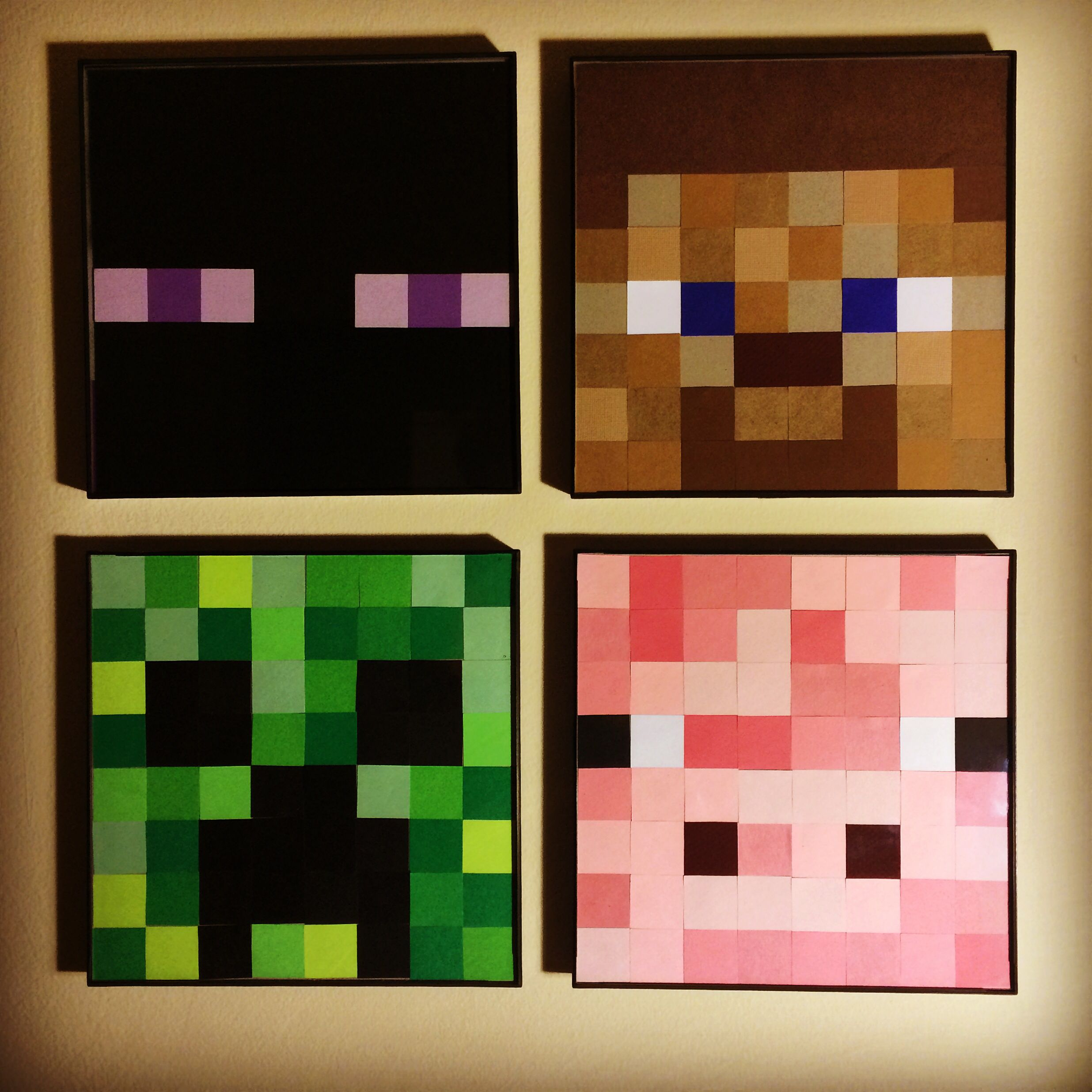 Minecraft Wall Art Made Using 1 Inch Square Paper Punch Scrapbook Paper And 8x8 Picture Frame Minecraft Wall 8x8 Picture Frame Square Paper