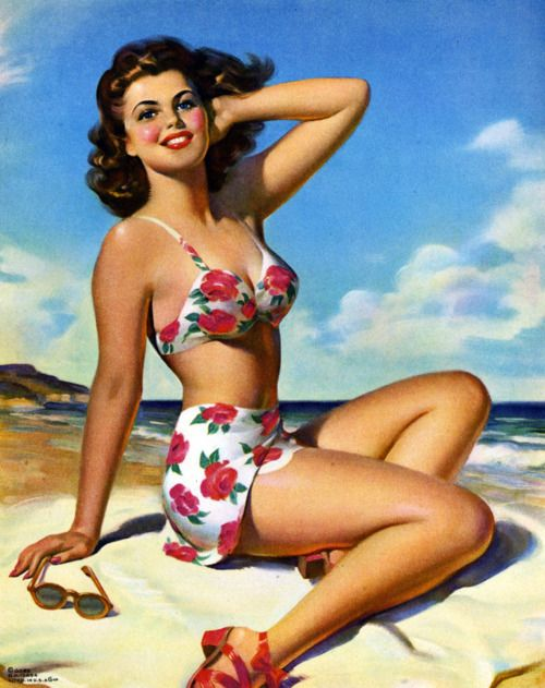 1940s Pin-Up Girl Beach Blanket Bingo Picture Poster Print Art Pin Up