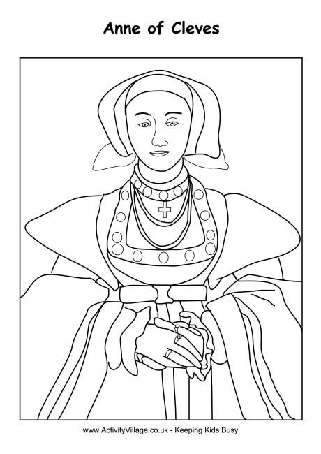 Anne Of Cleves Colouring Page Anne Of Cleves Tudor History