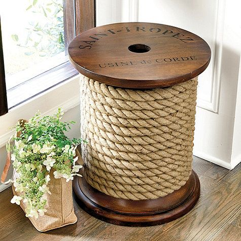Captivating Spool Side Table: The Unique Design For This Wood Side Table Was Inspired  By Actual Spools Used By French Rope Makers To Sell Their Natural Fiber  Manila ...