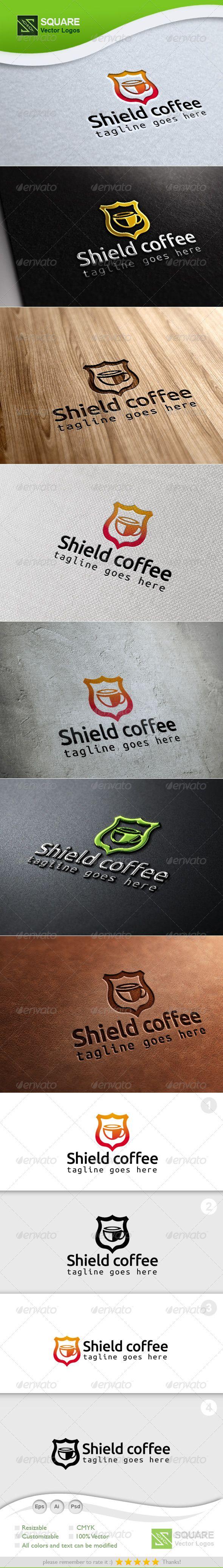Shield, Coffee Vector Logo Template Logo templates