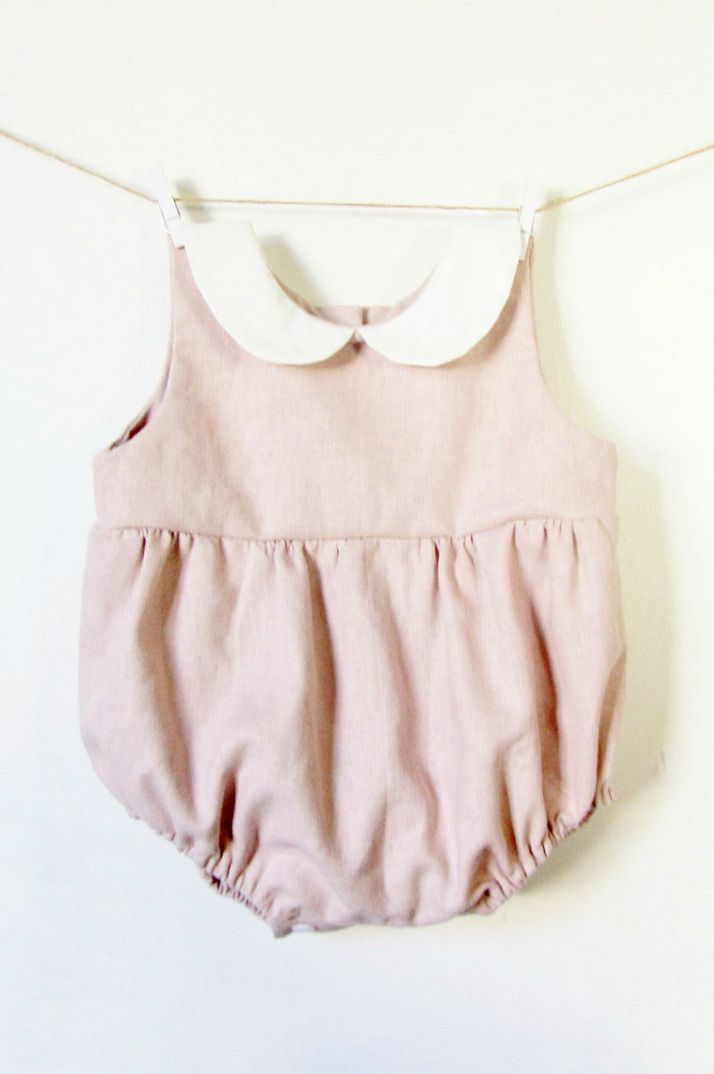 587dd9cecaae Handmade Linen Baby Romper With Peter Pan Collar