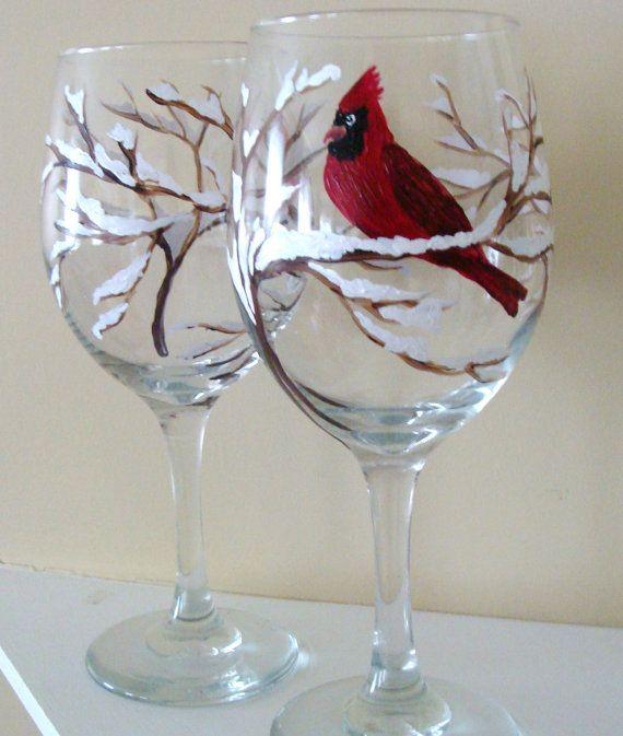Cardinal vin verres peints à la main par CANADIANCREATIONZ sur Etsy