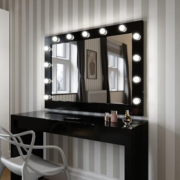 Hollywood mirror in black gloss makeup mirror with lights hollywood mirror in black gloss makeup mirror with lights dressing table mirror with lights vanity mirror with lights illuminated makeup mi aloadofball Choice Image