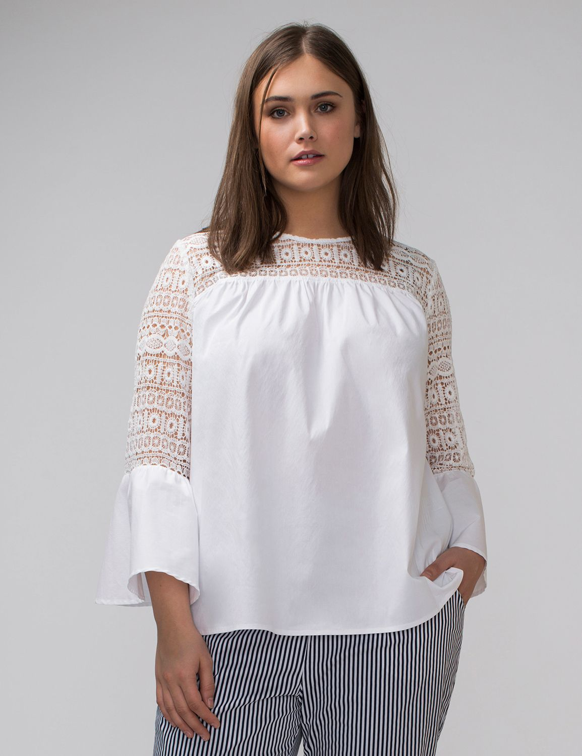 Bell-Sleeve Top with Crochet