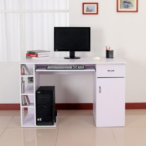 Mesa De Ordenador Tipo Escritorio Para Pc Color Blanco Madera