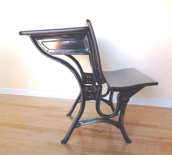 Old School Desk - Antique American Seating Company - Maple Wood and Steel - Old School Desk - Antique American Seating Company - Maple Wood
