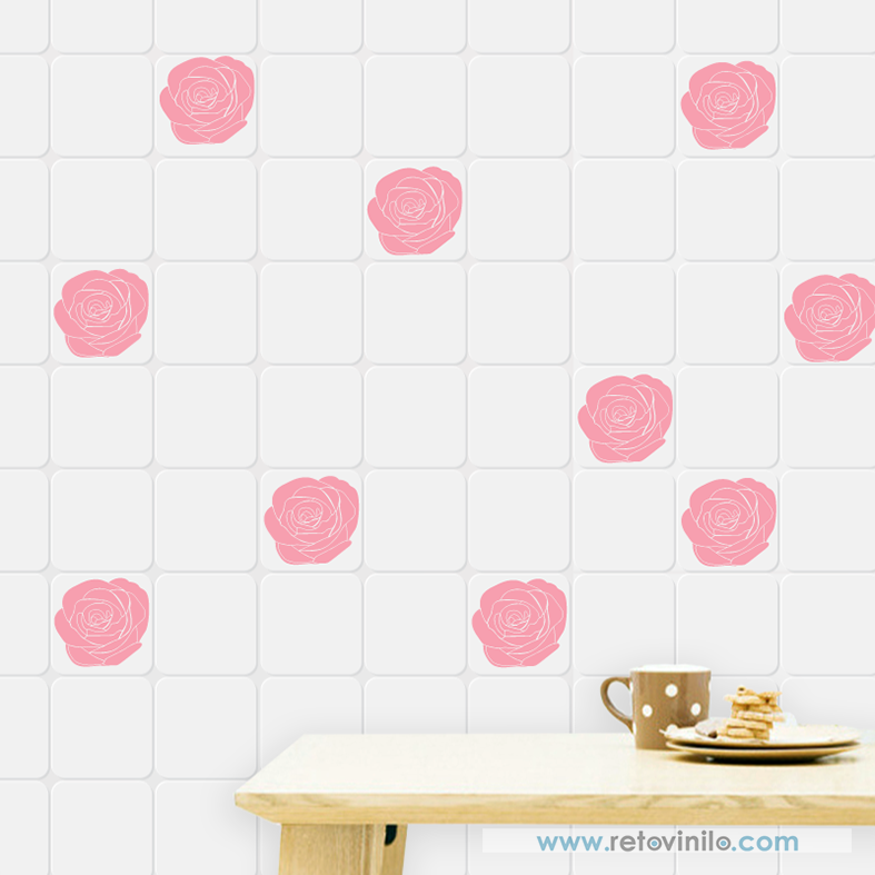 Vinilos Decorativo Azulejos Rosas Se Entrega En 1 Pieza De 120x56 - Azulejos-rosas