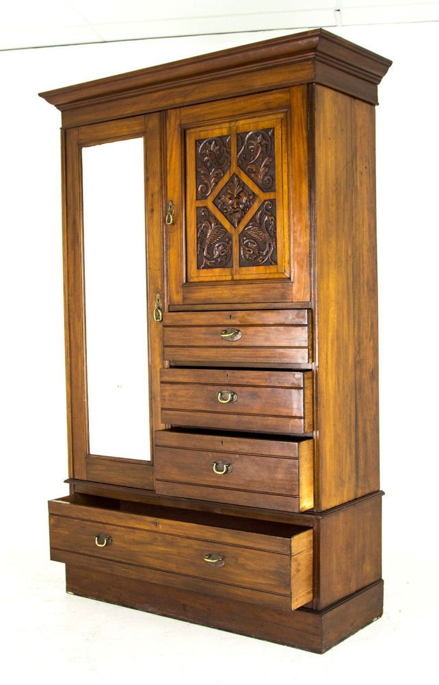 Antique Mahogany Armoire | Gentlemanu0027s Wardrobe | Scotland 1880 | B688