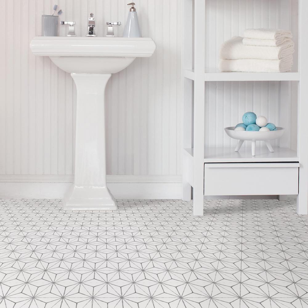 Floorpops Kikko Peel And Stick Floor Tiles 12 In X 12 In 20 Tiles 20 Sq Ft Tfp2481 The Home Depot Peel And Stick Floor Vinyl Tile Tile Floor
