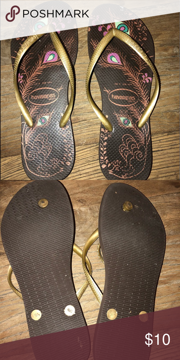 c41e4a19b46bba Havaianas USA flip flops peacock feather fits 9 10 Bronze   Brown peacock  feather design flip flop Havaianas Shoes Sandals