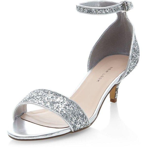 Wide Fit Silver Ankle Strap Low Kitten Heels ($31) ❤ liked on ...