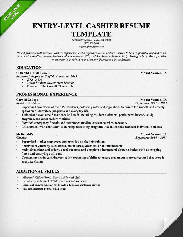 Entrylevel Cashier Resume Template Download this resume sample to
