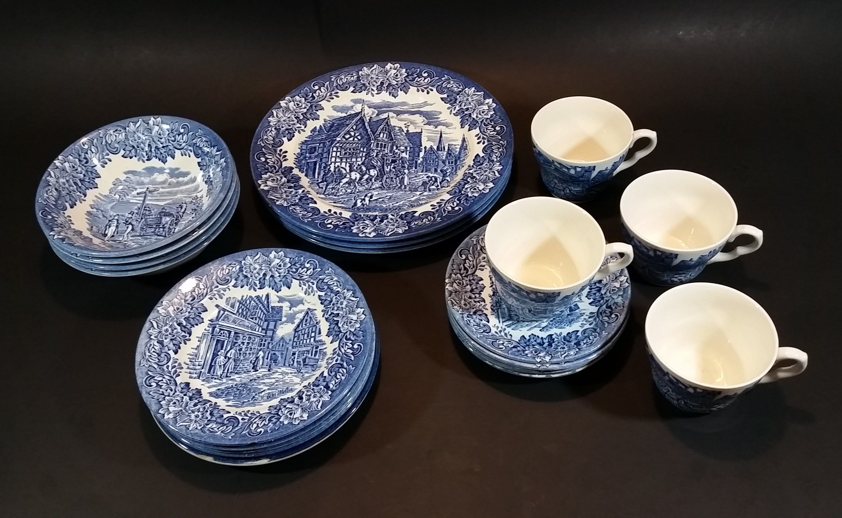 1970-1973 Staffordshire \ English Ironstone Tableware Limited\  Dickens Blue 20 Piece Dinnerware Set & 1970-1973 Staffordshire \