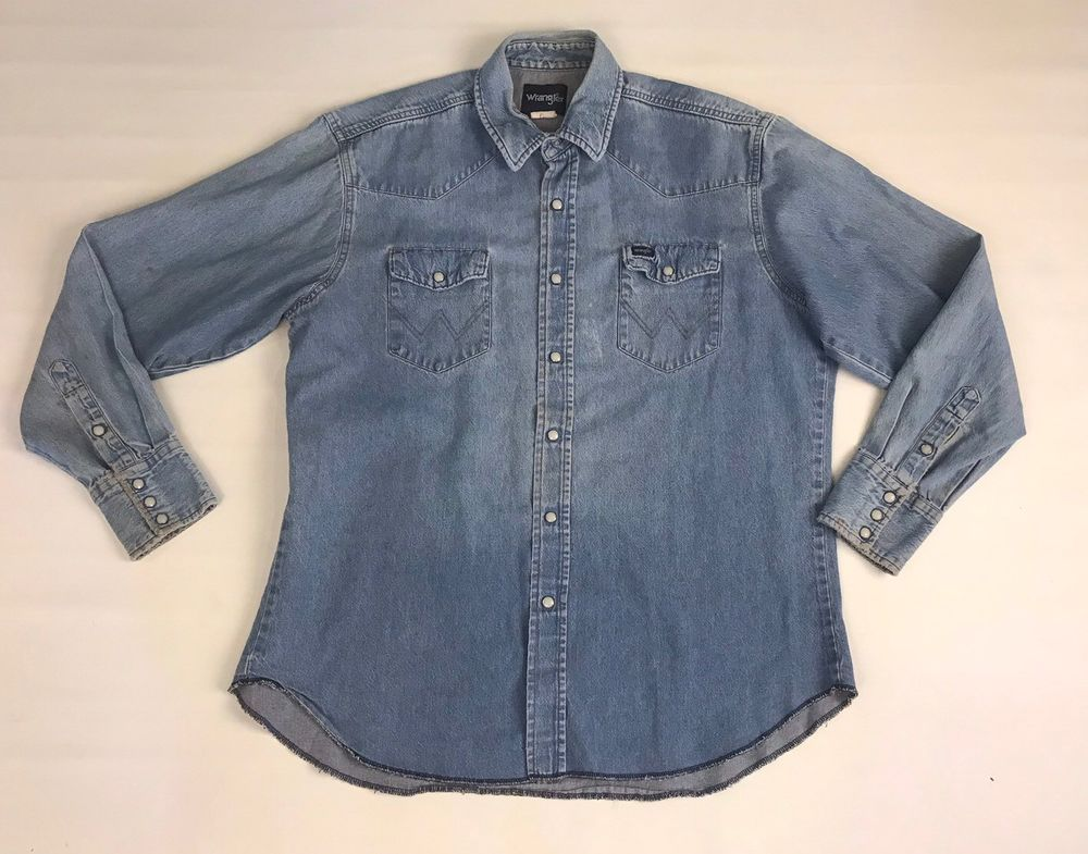 9db97de9c6 Vintage Wrangler Denim Western Pearl Snap Shirt Blue Jean Cotton Men s Large   Wrangler  Western