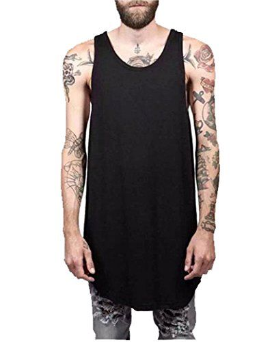f7e75a29ca052 Save BIG on top quality items on shopping. YANWENFANG Men s Solid Color  Long Length Curved Hem Tank . ...