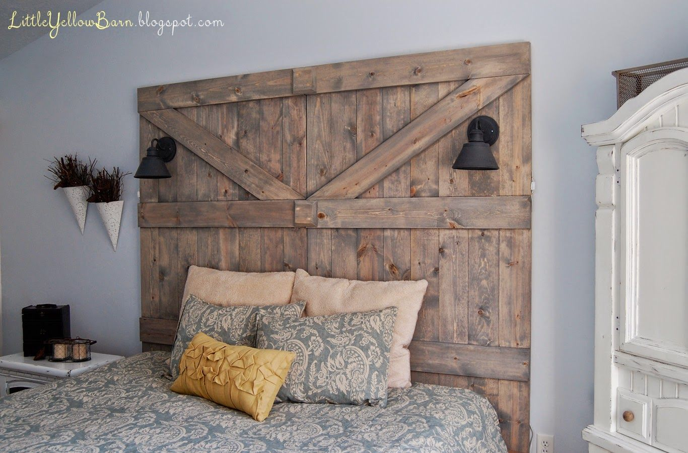 headboard with corrugated barn metal   DIY Barn Door ...