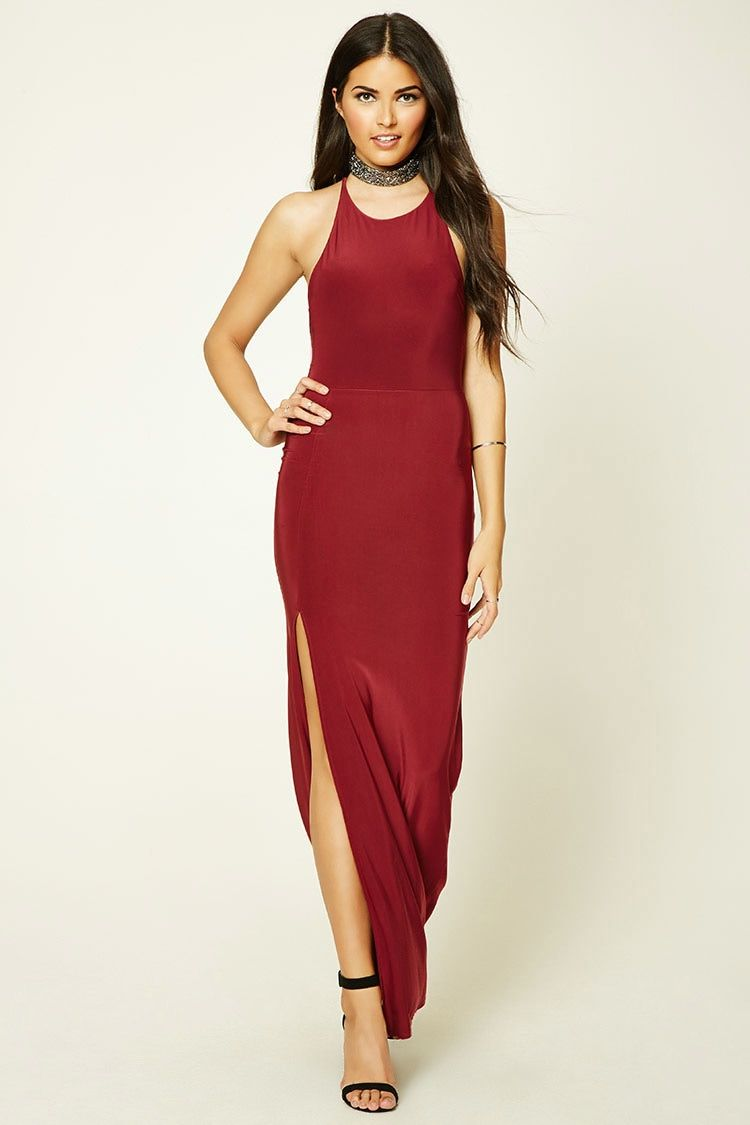 ca00e79498a Forever 21 Contemporary - A knit sleeveless maxi dress featuring a round  halter neckline