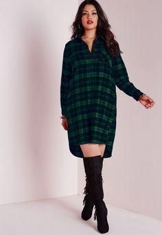 d5ded09696b1 Robe-chemise à carreaux grande taille verte - Robes grandes tailles  habillées ou détente -