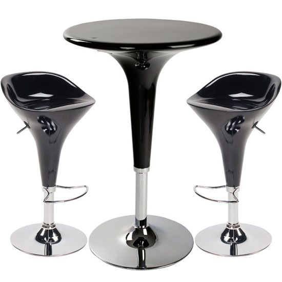 Beautiful Ocean Black Bar Table Set + 2 Bar Stools