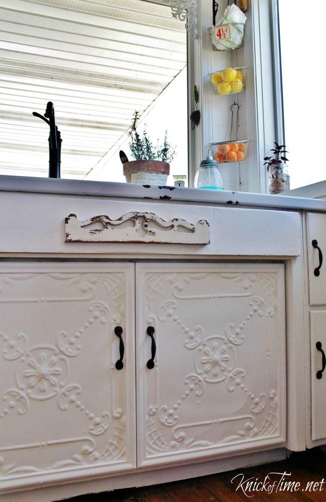 Antique Ceiling Tiles Cabinet Doors