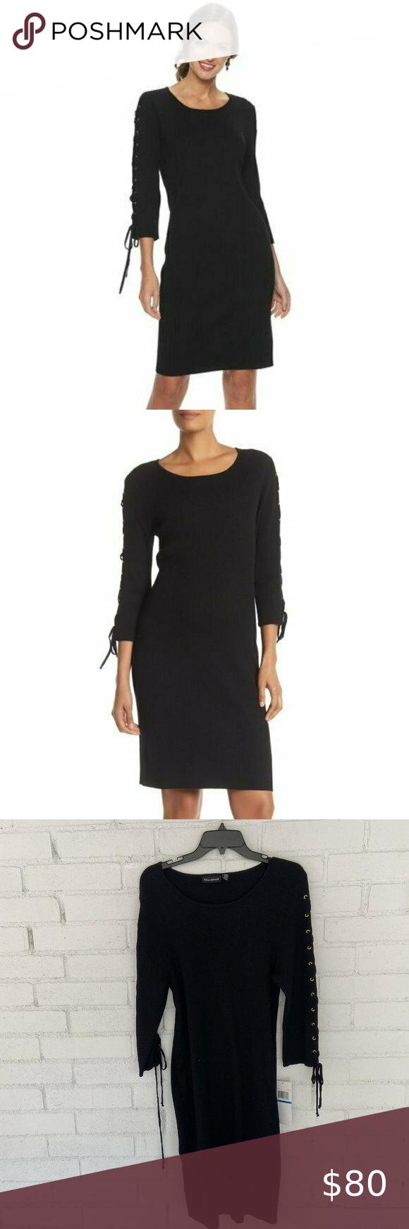 Nina Leonard Lace Up Ribbed Black Dress Xl Pb80 Sweater Dress Women Fit Sweater Dress Ribbed Sweater Dress [ 1740 x 580 Pixel ]