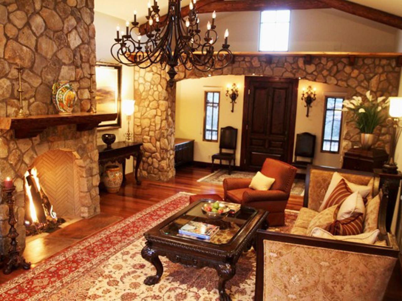 Rustic Living Room With Spanish Style Spanish Living Room Design Living Room With Fireplace Spanish Living Room #traditional #furniture #styles #living #room