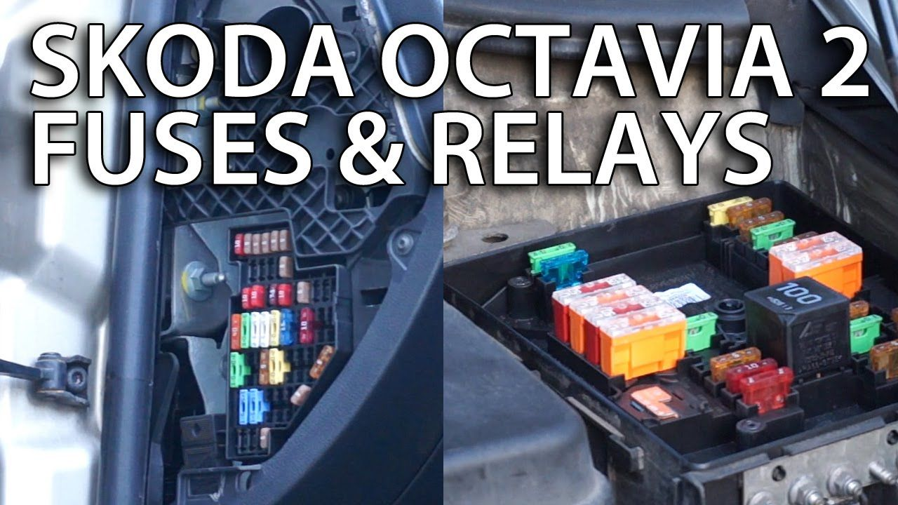 Where are fuses and relays located in #Skoda #Octavia II #cars #maintenance  #service