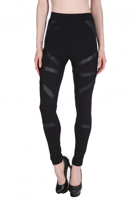 e3f889a91ddb6 A dope pair of leggings that feature leather striped detailing along the  front. These leggings ar.