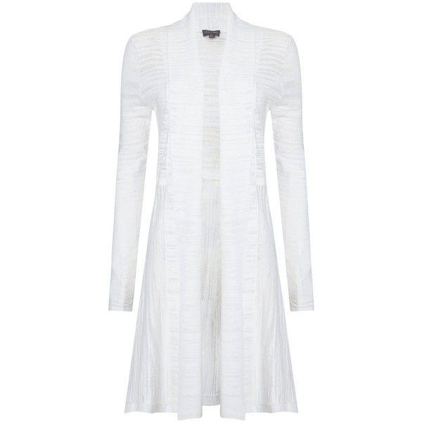Phase Eight Slub Lili Longline Cardigan, White ($64) ❤ liked on ...