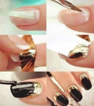 uñas negras con final dorado