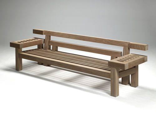garden bench contemporary teak with backrest nar 265 by louis