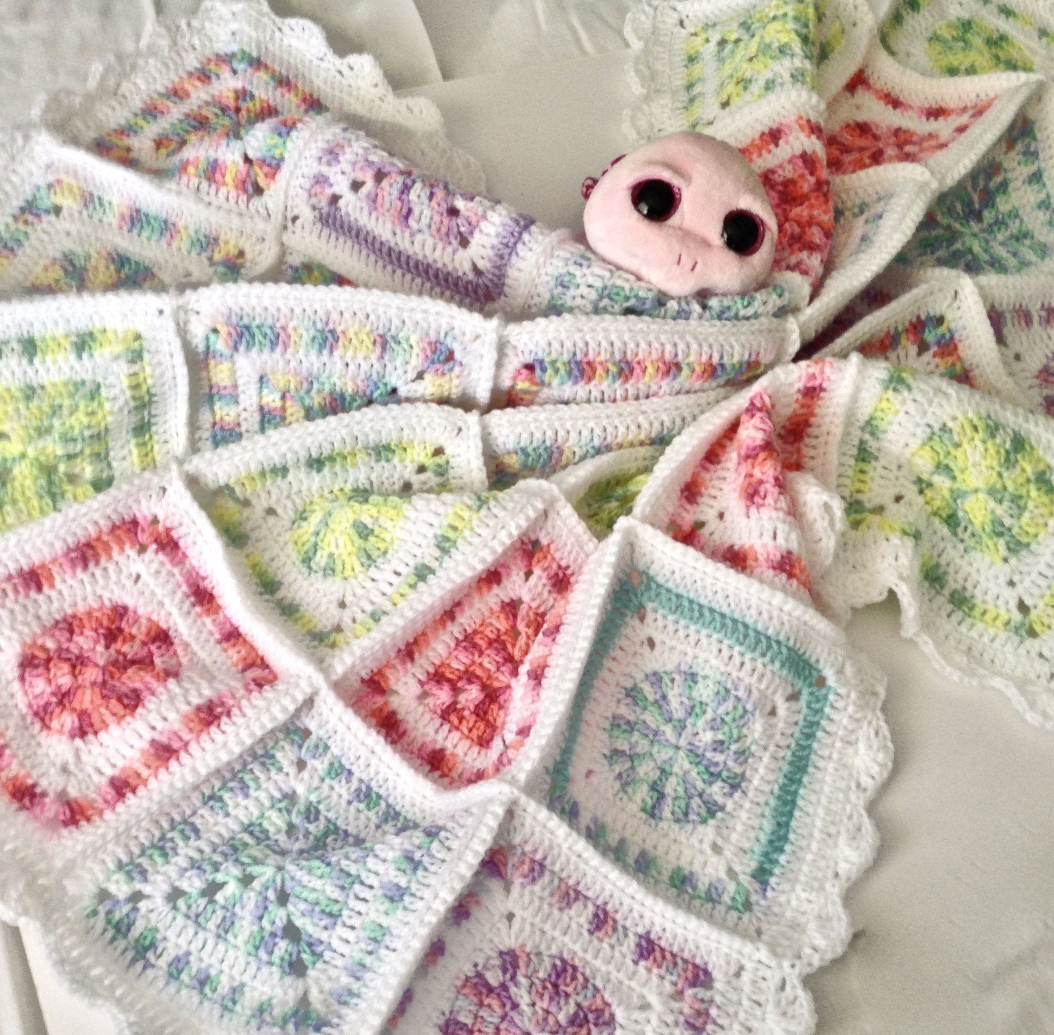 Crochet Variegated Granny Square Baby Blanket/Cot Blanket by ...