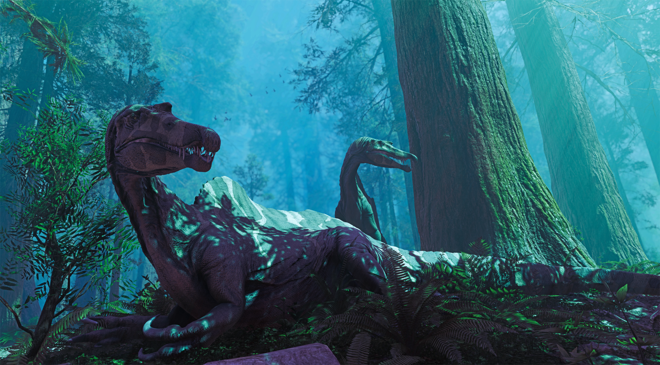 Two Spinosaurus alerted in the middle of the night of a