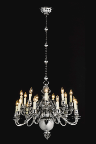 An important 18 light danish sterling silver chandelier georg an important 18 light danish sterling silver chandelier georg jensen copenhagen 1920 aloadofball Choice Image